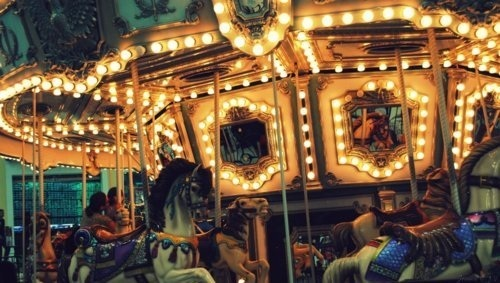 Love Boy And Girl Kiss Wallpaper Carnival Carousel Lights Merry Go Round Photography