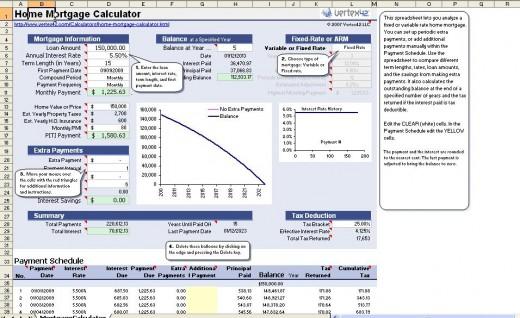 mortgage calculator spreadsheet - mortgage calculator template