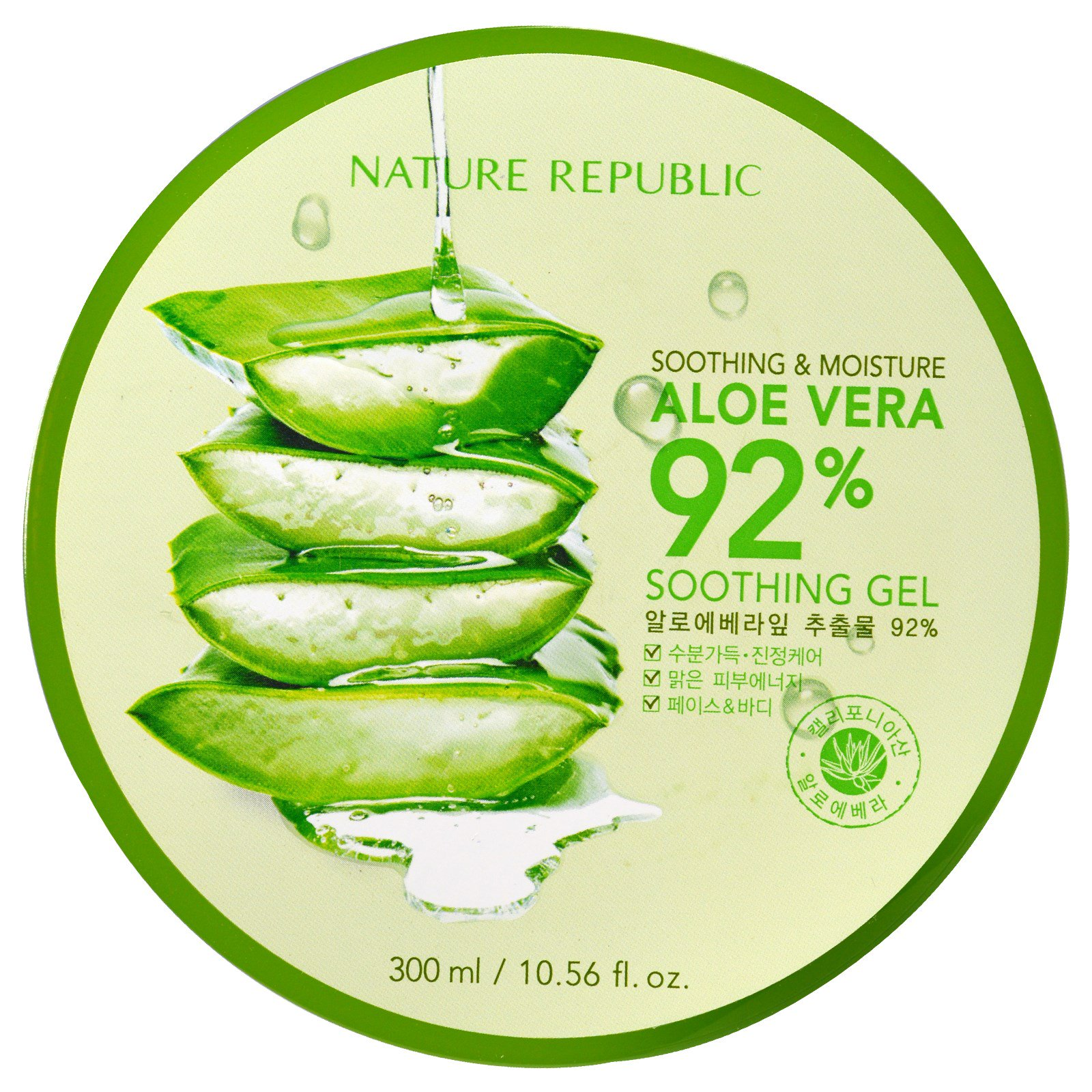 Alo Vera Nature Republic Soothing Moisture Aloe Vera 92 Soothing Gel 10 56 Fl Oz 300 Ml