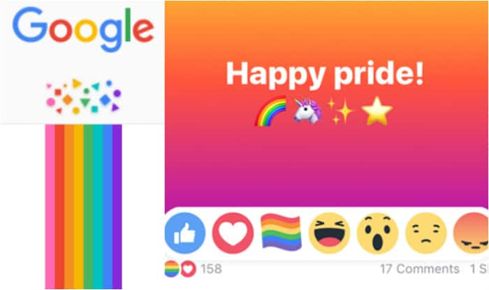 LGBT Pride Month celebrated by Facebook  Google with hidden rainbow