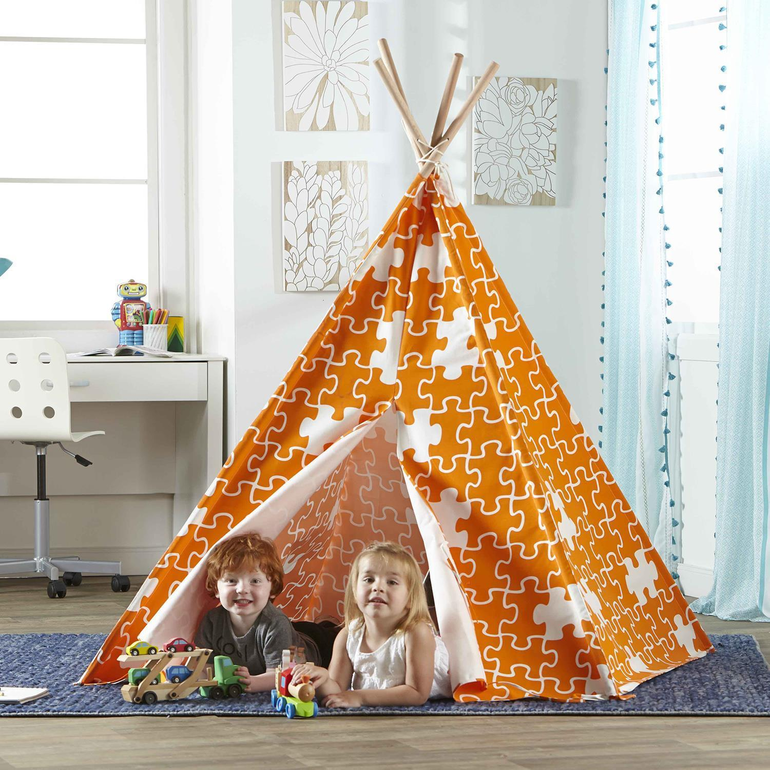 Teepee Kids Kids Teepee Play Tent With Puzzle Print
