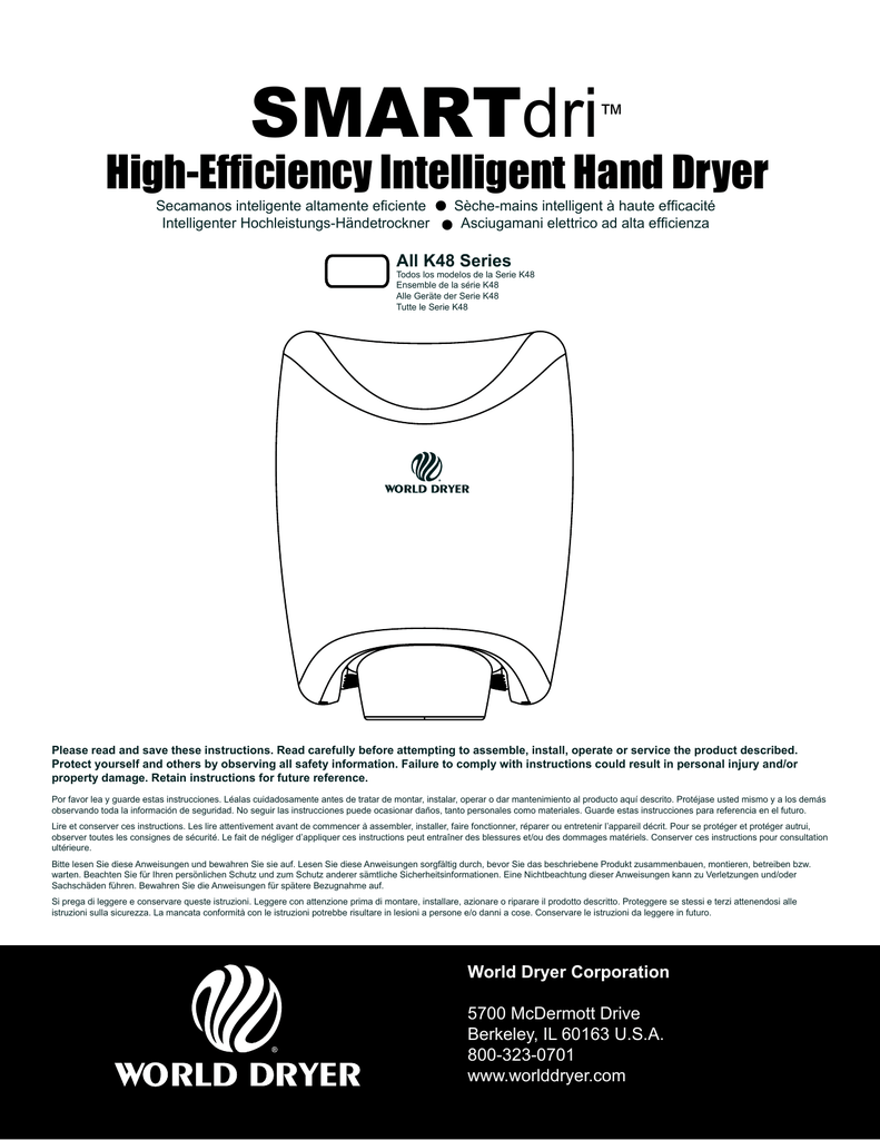 Händetrockner World Dryer Smart High Efficiency Intelligent Hand Dryer Manualzz