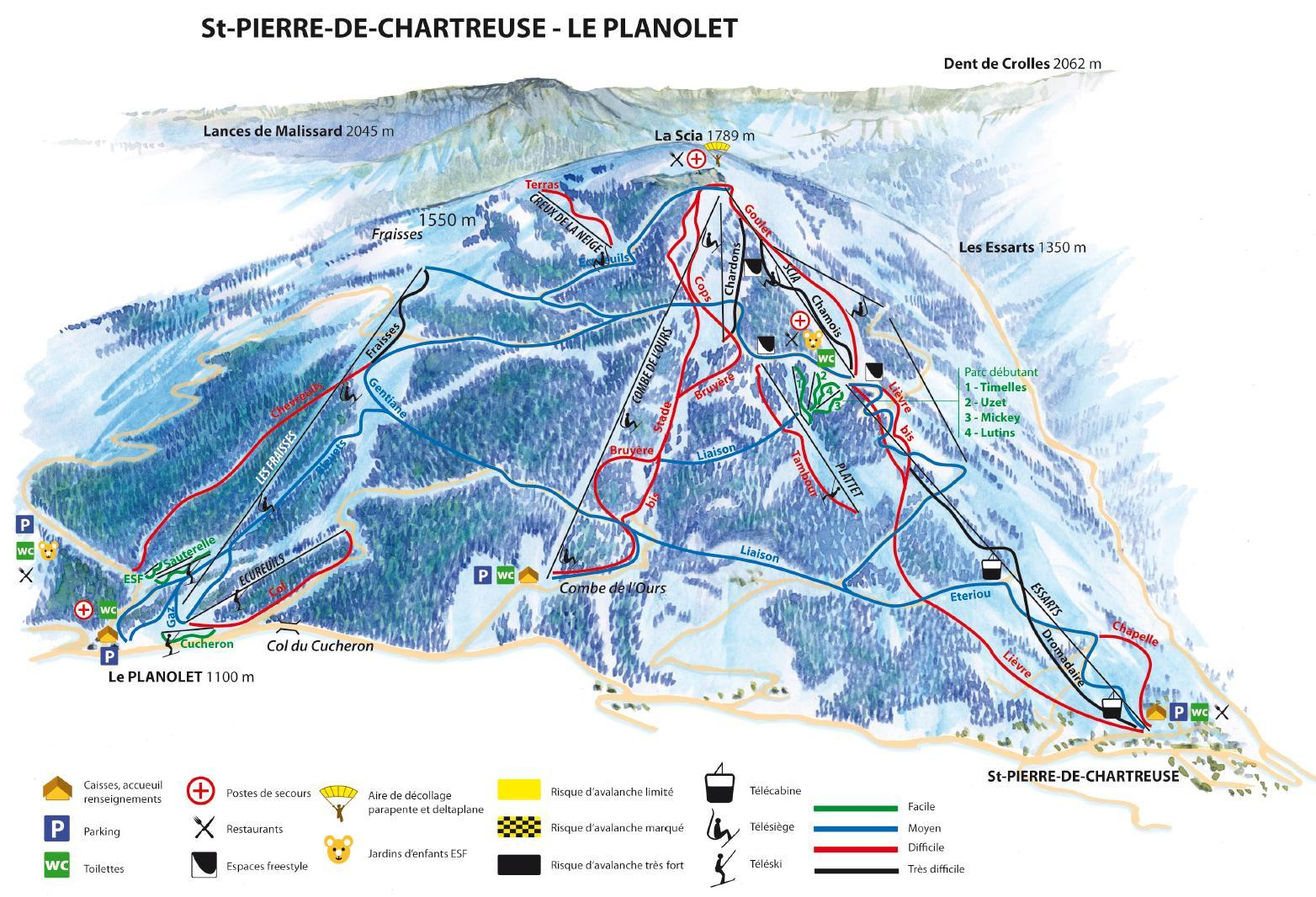 Pierre De Plan Saint Pierre De Chartreuse Piste Map Plan Of Ski Slopes And