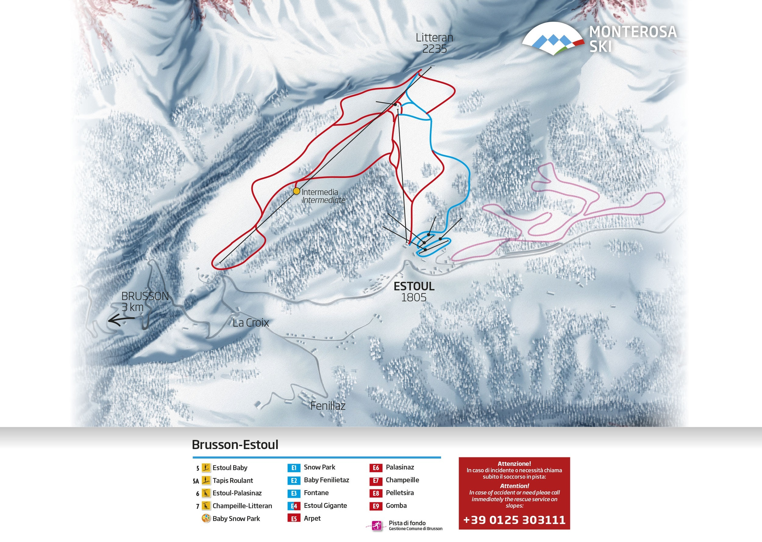 Tappeto Elettrico Subito Brusson Piste Map Plan Of Ski Slopes And Lifts Onthesnow