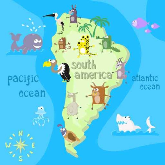 Concept design map of south american continent with animals drawing
