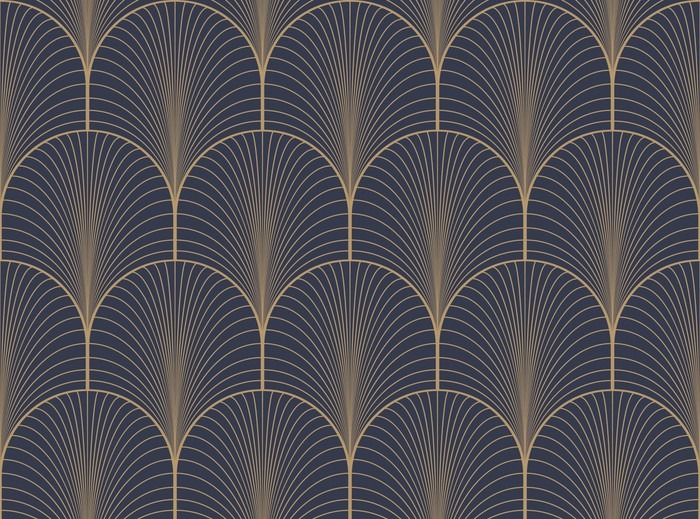 St Maclou Salon Vintage Tan Blue And Brown Seamless Art Deco Wallpaper