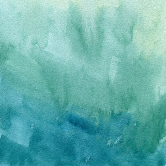 Hand drawn turquoise blue, green watercolor abstract paint texture