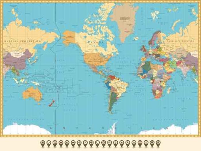 Dünya Haritası Amerika Merkezli ve harita işaretçiler Retro renk - amerika haritasi
