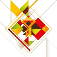 Creative composition with colorful abstract shapes. Wall ...