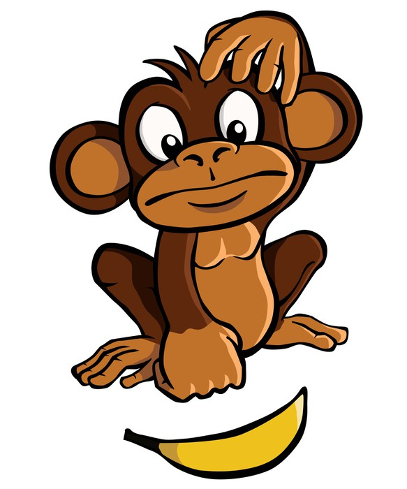 Apen Slaapkamer Stickers Sticker Cartoon Aap Met Banaan • Pixers® - We Leven Om Te
