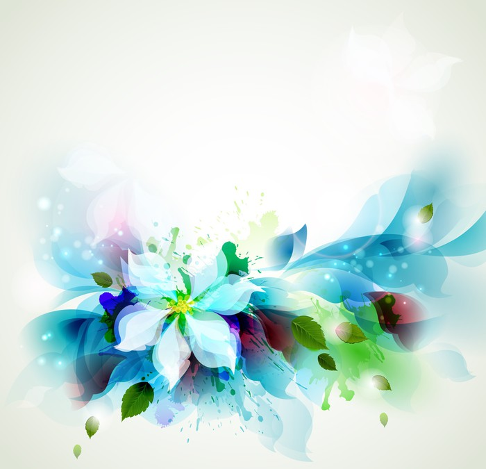Abstract blue artistic Backgrounds with floral Wall Mural \u2022 Pixers