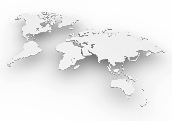 Planisfero mondo 3d bianco cartina Wall Mural \u2022 Pixers® \u2022 We live to - cartina mondo