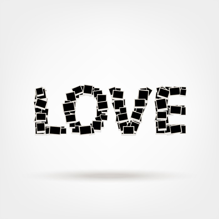 Love, word made from photo frames, insert your photos Wall Mural