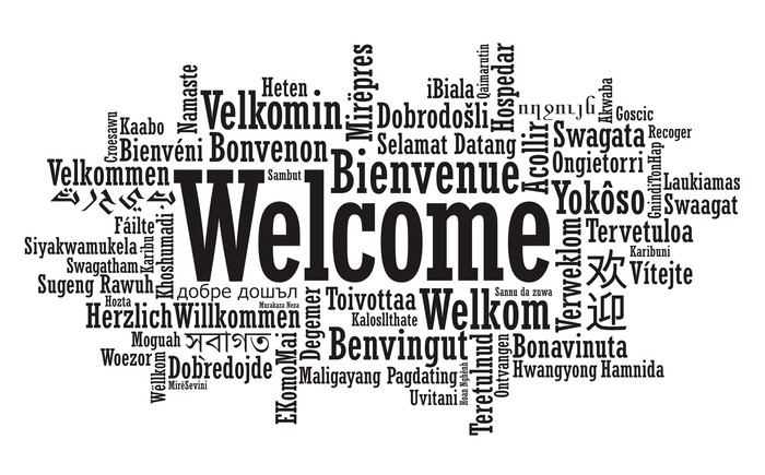 Welcome Word Cloud illustration in vector format Wall Mural \u2022 Pixers