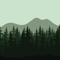 Seamless mountain landscape, forest silhouettes Wall Mural ...