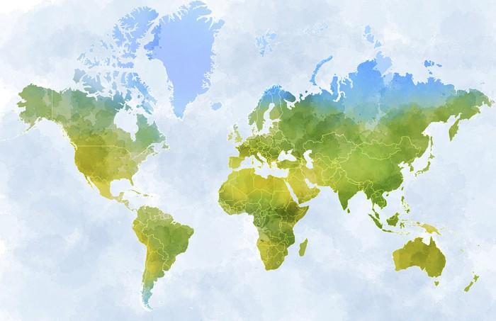 Cartina mondo, disegnata illustrata pennellate, confini Stati Wall - cartina mondo