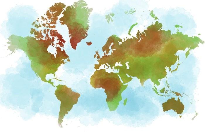 Cartina del mondo, planisfero disegnato a mano a pennellate Wall - cartina mondo