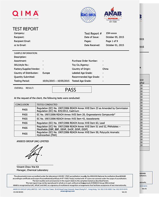 Format of Textile Fabric Testing Sample Report QIMA