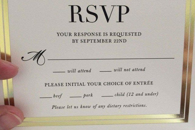 Wedding RSVP Card Children Menu Fail Reddit