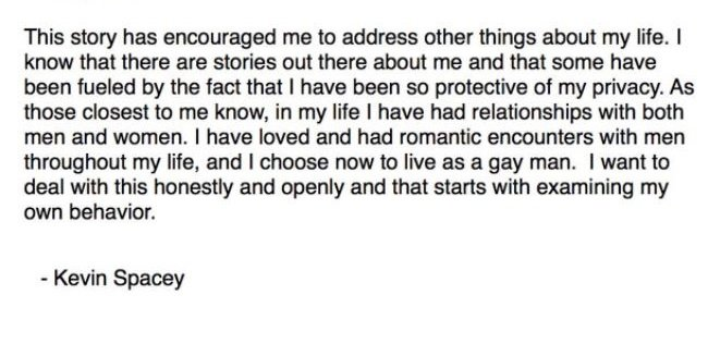 Kevin Spacey Comes Out As Gay In An Apology Letter After Another