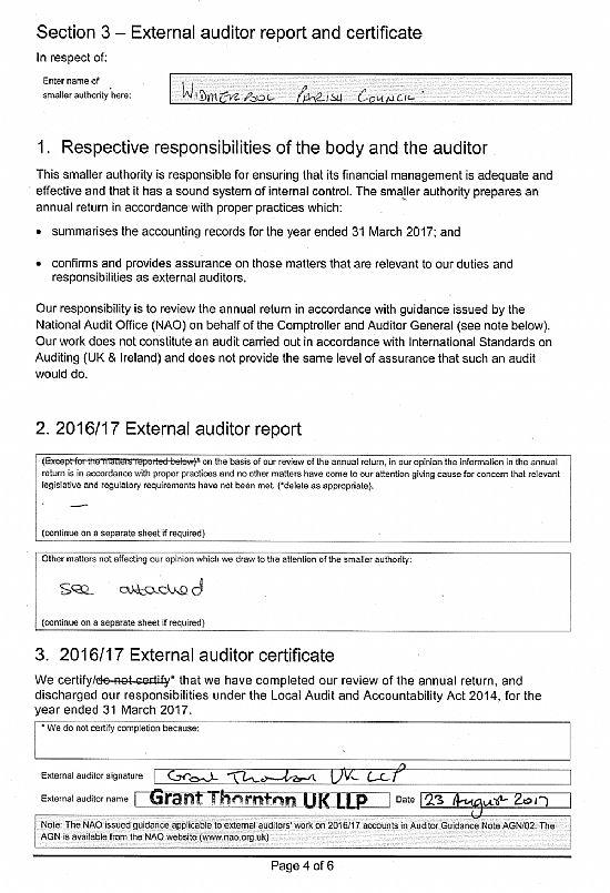 Widmerpool Parish Council External Auditor Report