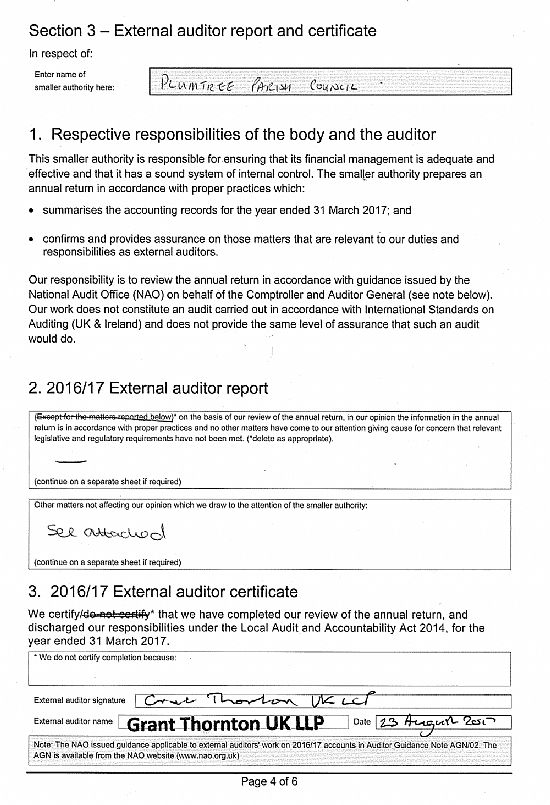 Plumtree Parish Council External Auditor Report