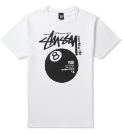 Stussy White Worldwide 8 Ball T-Shirt Picutre