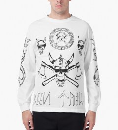 BEENTRILL White Viking L/S T-Shirt Model Picutre