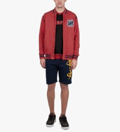 Undefeated Red Strike Varsity Jacket Model Picutre