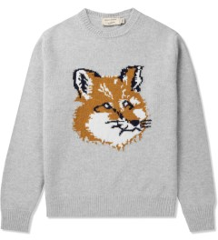 Maison Kitsune Light Grey Melange Fox Head Pullover Sweater Picutre