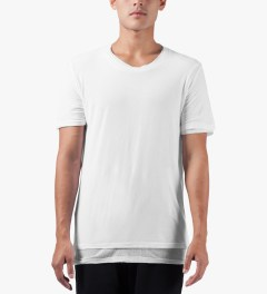 KRISVANASSCHE White Double Layer Round Neck T-Shirt Model Picutre