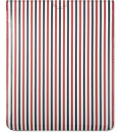 Thom Browne Blue/White Striped Print Calfskin Leather iPad Case Model Picutre