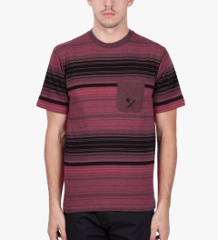 Us Versus Them Red Static Stripe T-Shirt Model Picutre