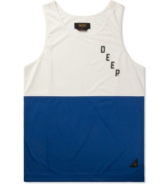 10.Deep Blue Split Mesh Tank Top Picutre
