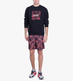 HUF Navy Box Logo Fill Floral Crewneck Sweater Model Picutre