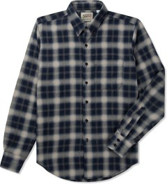 Naked & Famous Navy/Cream Shadow Check Slim Shirt Picutre