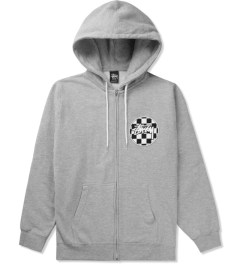 Stussy Heather Grey Checks Stock Zip Hoodie Picutre