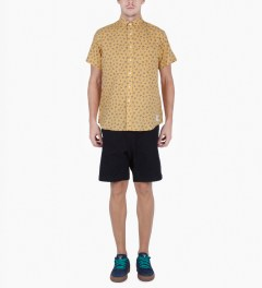 Grind London Yellow Mustard Paisley S/S Shirt Model Picutre