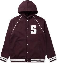 Stussy Maroon Hooded S Varsity Jacket Picutre