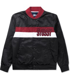 Stussy Black Satin Stripe Jacket Picutre
