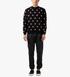 AMH Black Feather Repeat Sweater Model Picutre