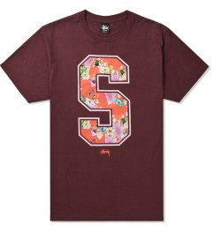 Stussy Dark Red S Flower T-Shirt Picutre