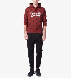 Lemar & Dauley Red Slam Dots Hoodie Model Picutre
