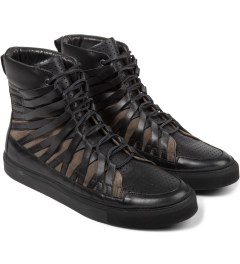 Damir Doma Black/Khaki FALCO High Layered Sneakers Model Picutre