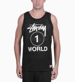 Stussy Black One World Mesh Tank Top Model Picutre