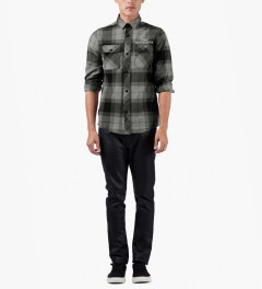 The Hundreds Black Nation Button Up Flannel Shirt Model Picutre