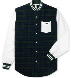 Munsoo Kwon Green/Navy Varsity Brushed Tartan Check Shirt Picutre