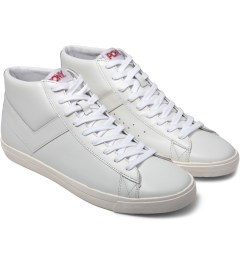 PONY White/White Perf Topstar Hi Leather Sneakers Model Picutre