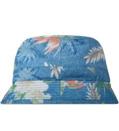 BWGH Blue Floral Print Bob Bucket Hat Model Picutre