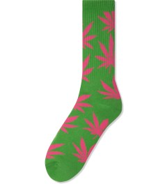 HUF Green/Pink Glow in the Dark Plantlife Crew Socks Picutre